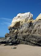 algarve coast at low tide the ocean . - stock photo