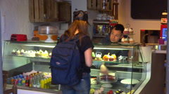 Cup cake shop barcelona Stock Footage