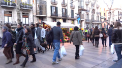 La rambla barcelona Stock Footage