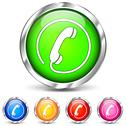 Stock Illustration of five telephone icons