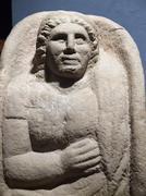etruscan gravestones - stock photo