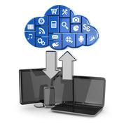 cloud computing. laptop, tablet pc and phone. - stock illustration