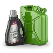 Stock Illustration of motor oil canister and jerrycan of petrol or gas.