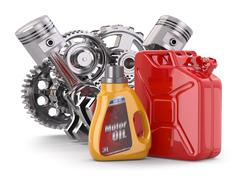 Stock Illustration of engine, motor oil canister and jerrycan.