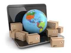 world wide delivering. earth and boxes on laptop. - stock illustration