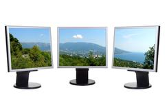 Coastal view on computer screens Stock Photos