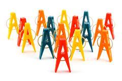 Group of clothespins Stock Photos