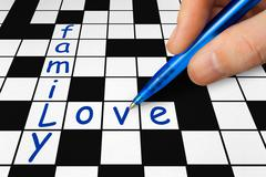 Crossword - family and love Stock Photos