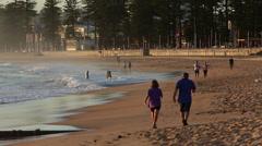 People Walk on Australia Beach Stock Video Stock Footage