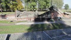 Auschwitz - ruins of crematory Stock Footage