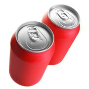 Two red drink cans - stock photo