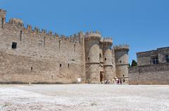 Stock Photo of Medieval castle in old town of Rhodes, Greece.