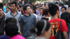 XI'AN - MAY 26: Crowd on street , Xi'an city, Shaanxi province, China. - stock footage