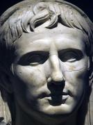 marble portrait of young augustus - stock photo