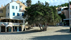 Europe Spain Balearic Ibiza towns & villages 102 houses behind the beach Stock Footage