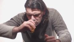 Man drinks vodka Stock Footage