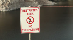 Restricted Area Sign at Hoover Dam for Homeland Security Stock Footage