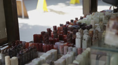 One of stall of antique market,a lot of chinese carving seals on sale. Stock Footage