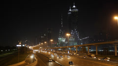 Night Light JW Marriott Marquis Burj Khalifa Dubai Skyline Highway Busy Street - stock footage
