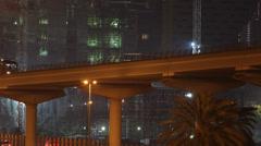 Elevated Subway Metro Train Railway Dubai Departing Passing Leaves Station Night Stock Footage