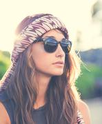 Stock Photo of portrait of beautiful hipster girl