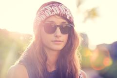 Portrait of beautiful hipster girl Stock Photos