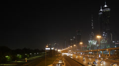 Night Evening Dubai Skyline Downtown Skyscrapers Crowded Highway Cars Congestion Stock Footage