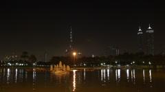 Night Evening Illuminated Lights Safa Park Dubai Skyline Burj Khalifa Boat Ride Stock Footage