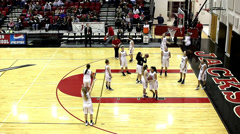 Time lapse of girls high school basketball warm up - stock footage