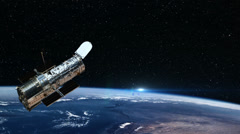 Hubble Space Telescope Passing Over Earth, 4K Stock Footage