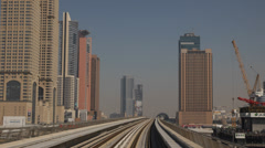 Dubai Internet City Station POV Metro Train Driving Corporate Office Skyscrapers Stock Footage