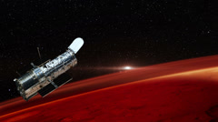 Hubble Space Telescope Passing Over Mars, HD, 4K Stock Footage