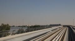 Dubai International Airport Terminal DXB Metro POV Train Arrival Approaching UAE Stock Footage