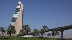 Seagulls Flying Birds Exotic Palm Trees Dubai Skyline Etisalat Tower Rush Hour Stock Footage