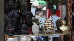 Vendors display crafts at a Antique Market Stock Footage