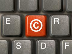 Stock Photo of Keyboard, key with Copyright symbol