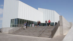 Tourists visting the Turner Contemporary Gallery in Margate Stock Footage