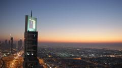 Dusk Night Light Panorama Burj Khalifa Aerial View Dubai Skyline Highway Busy Stock Footage