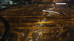 Aerial View Night Dubai Highway Busy Street Traffic Jam Car Congestion Rush Hour - stock footage