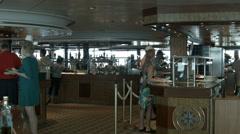Cruise ship breakfast buffet passengers crew HD BM 0908 Stock Footage