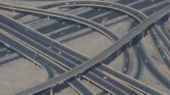 Dubai Rush Hour Commuter Aerial View Highway Freeway Modern Elevated Interchange Stock Footage