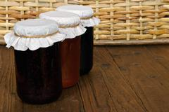set of three conserve jars - stock photo