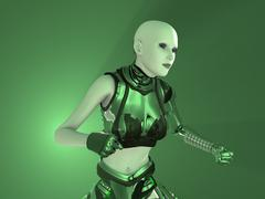female cyborg - stock photo