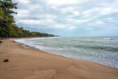 overcast beach - stock photo