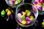 Stock Photo of colorful sweetness thai style dessert in glass on black background.