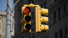 Traffic Stoplight - Turning from Red to Green Stock Footage