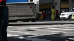 Pedestrian Traffic, People crossing busy street in New York City Stock Footage
