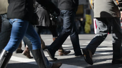 People crossing street in New York City Stock Footage