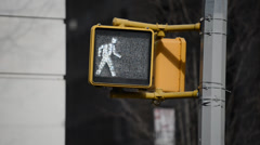 "Street Crossing sign ""Walk"" to ""Don't walk"" Stock Footage"