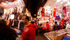 Hong Kong colorful street night market time lapse Stock Footage